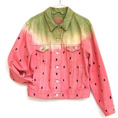DENIM WATERMELON JACKET, hand painted levis jean jacket (1,805 MXN) ❤ liked on Polyvore featuring outerwear, jackets, tops, shirts, vintage jean jacket, denim jacket, red jacket, jean jacket and summer jacket