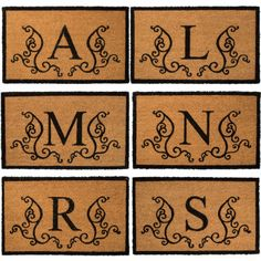 "18""x30"" Thick Natural Coir Monogram Doormat – Non-Slip Back"