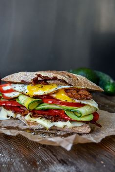 Bacon, Egg and Cheese Sandwich with Garden Vegetables