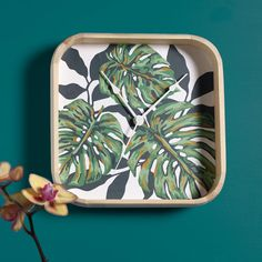 Craft Painting - DIY Wall Clock Idea using a Tropical Leaf paint-by-number FREE Printable!