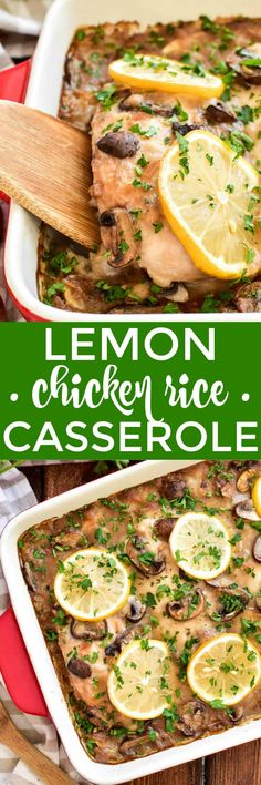 Lemon Chicken Rice Casserole makes the BEST weeknight dinner! It's easy to prep - with just 8 simple ingredients - and oven-ready in less. Chicken Rice Casserole, Casserole Dishes, Casserole Recipes, Easy Family Dinners, Easy Weeknight Dinners, Best Chicken Recipes, Pork Recipes, Recipe Chicken, Lemon Recipes