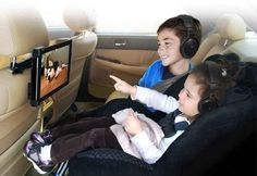 Use a seat-mounted tablet to keep backseat riders entertained.