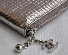 Chanel leather long zipper grid