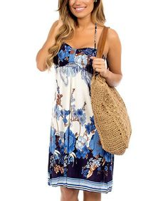 Another great find on #zulily! Ivory & Navy Floral Halter Dress #zulilyfinds