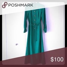 Vintage floor length silk shirt dress Kelly green Mary Tyler Moore-esque shirt dress silk (raw silk?) gown, vintage 70s bought in London and wore to a black tie event there, but have not had call for such a dress where I live now. I'm pretty sure it's by a dressmaker, no tags, nicely lined, original buttons, and cool knotted ends on optional belt. Size wise this should fit an 8-12 well, but maybe up to a 16 or down to a 4 or 6. Happy to measure or answer questions. Dresses Maxi