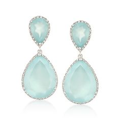 Blue Agate and .25 ct. t.w. Diamond Drop Earrings in Sterling Silver