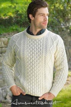 50faf500 Crew Neck Aran Sweater Hand Knitted Sweaters, Cool Sweaters, Aran Sweaters,  Irish Clothing