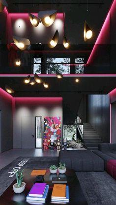 Loft Interior, Futuristic Interior, Mansion Interior, Dream House Interior, Luxury Homes Dream Houses, Home Room Design, Dream Home Design, Home Interior Design, Living Room Designs