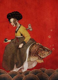 Supersonic Art: Dani Soon, Illustrations. Korean Art, Asian Art, Girl Doctor, Pop Surrealism, Fish Art, Surreal Art, Art Sketchbook, Art Blog, Unique Art