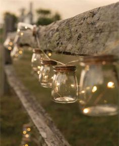 Glass jar white string lights - yes, please! What do you think - for the porch, the barn or the fireplace?