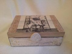 caja madera niña antigua zapatos  caja de madera,papel decoupage,pintura decoupage,pintura a mano