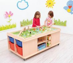 Play Table with Storage Wooden Building Blocks, Play Table, Kindergarten, Room Planning, Baby Center, Toy Organization, Kids Education, Shabby Chic Furniture, Storage Spaces