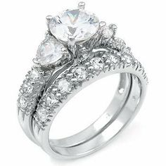 Sterling Silver Cubic Zirconia CZ Wedding Engagement Ring Set Titanium Kay. $39.99