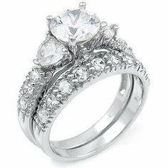 Sterling Silver Cubic Zirconia CZ Wedding Engagement Ring Set Titanium Kay. $39.99