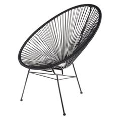 fauteuil acapulco scoubidou noir - for outside Chair Design, Furniture Design, Acapulco Chair, Toddler Table And Chairs, Outdoor Garden Furniture, Garden Chairs, Outdoor Sofa, Chair And Ottoman, Lounge Chair