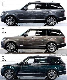 Cars Discover Which colour Vogue you will choose ? Repost from . Range Rover 2018, Range Rover Sport, Range Rovers, Bugatti Cars, Ferrari, Fancy Cars, Cool Cars, Carros Suv, Landrover Range Rover