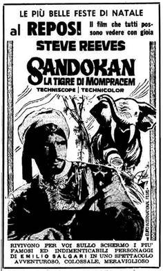 """""""Sandokan, la tigre di Mompracem"""" (1963) di Umberto Lenzi, con Steve Reeves e Geneviève Grad. Italian release: December 24, 1963 #MoviePosters #Sandokan"""