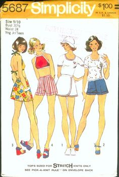 Simplicity 5687 Young Junior/ Teens' Pullover Top/ Halter Top, front wrapped short skirt and short shorts SIZE Bust Skirt Patterns Sewing, Vintage Sewing Patterns, Clothing Patterns, 70s Fashion, Vintage Fashion, Short Skirts, Mini Skirts, T Shirt And Shorts, Simplicity Patterns