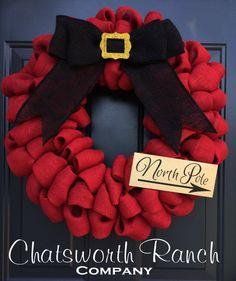 Santa Belt Buckle Burlap Wreath Christmas Holiday Welcome Door Wreath -  Merry…