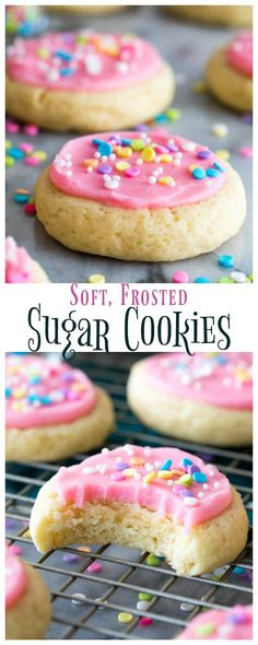 """Soft Frosted Sugar Cookies that require no chilling, no rolling pins, and no cookie cutters! These are similar to the famous """"Lofthouse Cookies"""" and are topped off with a sweet vanilla buttercream frosting and sprinkles. Drop Sugar Cookies, Sugar Cookies With Sprinkles, Chewy Sugar Cookies, Sugar Cookie Frosting, Fancy Cookies, Soft Frosted Sugar Cookies Recipe, Sugar Cookie Recipe No Chill, Cookies Soft, Sprinkle Cookies"""