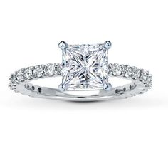Leo Diamond Solitaire1 12 ct Princesscut14K White Gold Ring