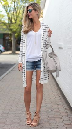summer outfit ideas - long cardigan over denim shorts and white tank