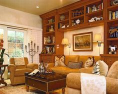SUZANNE MYERS ELITE INTERIOR DESIGN: Warm and textured family room.