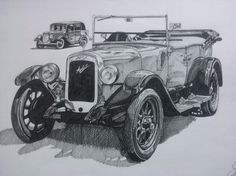 Austin 12. There's one of these then runs around our village. Nice to see a classic car out and about, so had to draw one.