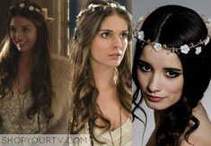 Kenna (Caitlin Stasey) wears this hand twisted headband with Swarovski crystals and tiny velvet Forget-me nots in multiple episodes of Reign...