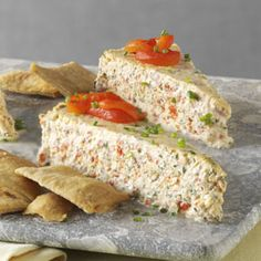 Herb & Roasted Pepper Cheesecake! Mmmm creamy, savory goodness....grab the crackers and pita chips! Roasted red peppers, fresh herbs - basil, chive and thyme are fab together! Great recipe!