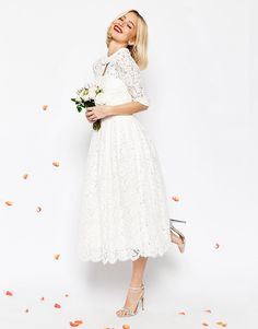 Image 4 of ASOS BRIDAL Lace Bandeau Midi Prom Dress With Crop Jacket