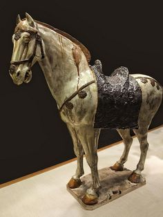 Earthenware Horse with three-color (sancai) lead glazes China Tang Dynasty 1st half of 8th century CE