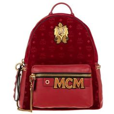 MCM Stark Velvet Insignia Backpack Medium Ruby Red in red, Shoulder... ($1,550) ❤ liked on Polyvore featuring bags, backpacks, red, logo backpacks, mcm bags, mcm backpack, red shoulder bag and pocket backpack