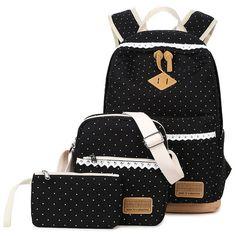 XQXA Dot Printing Satchel Canvas Rucksack Backpacks School Bags for Teenage Girls Escolar Mochila Backpack for Women 3Pcs/Set