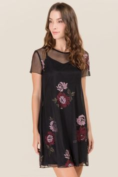 Cambree Floral Embroidery Mesh Shift Dress