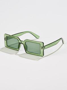 Rectangle Frame Sunglasses   ROMWE USA Cute Sunglasses, Mirrored Sunglasses, Sunnies, Lunette Style, Fashion Eye Glasses, Accesorios Casual, Sunglass Frames, Jewelry Accessories, Eyewear
