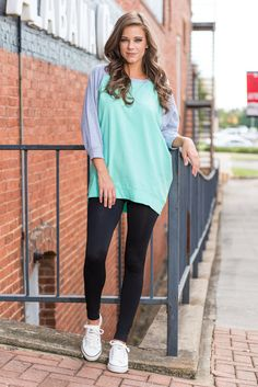 """""""Slouchy Dolman Raglan Tunic, Mint-Gray"""" We know you love the original 3/4 sleeve solid slouchy. Then we saw how much you loved the long sleeve version. So, we though it over and came up with another fabulous take on the slouchy"""