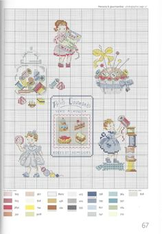 Little girl with sewing items. Cross Stitch Samplers, Cross Stitching, Cross Stitch Embroidery, Cross Stitch Fairy, Just Cross Stitch, Cross Stitch Designs, Cross Stitch Patterns, Stitches Wow, Cross Stitch Pictures