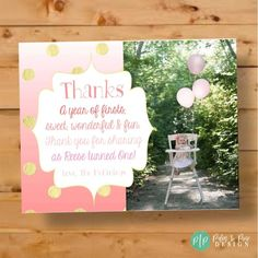 Say thank you to your little girls first birthday party guest with this pink ombre and gold glitter thank you card. This cute photo thank you card is personalized with your one year olds first birthday photo, name and family name. Pink Gold Birthday, Gold Birthday Party, 22nd Birthday, Girl First Birthday, First Birthday Parties, First Birthdays, First Birthday Pictures, Birthday Thank You Cards, Photo Thank You Cards