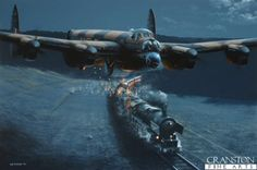 Raining Fire by Ivan Berry; Flying crazy low at 100ft, enroute to the Sorpe Dam; May 17 1943; Fl Sgt Ken Brown's Lanc ED918 encounters 3 seperate trains; the gunners open fire, pouring shells tracers into them and wreaking havoc. They arrive to successfuly attack the Sorpe with an Upkeep bomb, without breaching it. He and his crew returned safely, riddled with holes, their route home taking them over the breached Mohne Dam, where they exchanged gunfire with German batteries.
