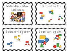 Kinder Math Manipulative Task Card...I made these to meet my classroom needs in my BUILD math centers.  The task cards will be laminated, cut o...