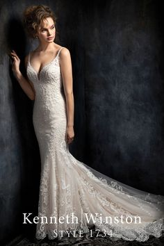 Featuring a dramatic lace train with light beading accenting the intricate lace applique. Pictured in Champagne, also available in Ivory or White. Order in any size from 2 to 28, or with your own custom measurements. Find a store near you at KennethWinston.com Amazing Wedding Dress, Used Wedding Dresses, Bridal Dresses, Wedding Gowns, Lace Wedding, Wedding Bells, Dream Wedding, Prom Dresses, The Knot