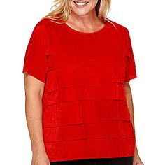 jcp | Alfred Dunner® Madrid Short-Sleeve Tiered Top - Plus