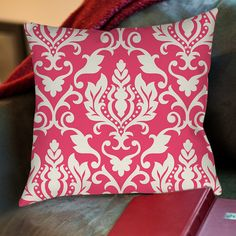 Francie Damask Printed Throw Pillow