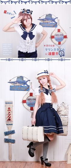 Sailor style.  Blue and white