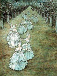 "fairytalemood:  ""Twelve Dancing Princesses"" by P.J. Lynch"