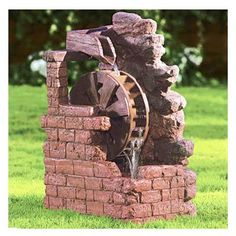 BECKETT 7171210 Water Wheel Fountain >>> Learn more by visiting the image link. (This is an affiliate link and I receive a commission for the sales) Fountains Of Wayne, Fountains For Sale, Garden Fountains, Indoor Waterfall, Waterfall Fountain, Easy Wood Projects, Diy Garden Projects, Home Fountain, Backyard Furniture