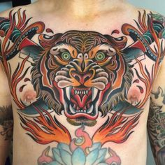 American Traditional Colored Chest Tattoo Of Tiger With Royal Bengal Tiger By Mistersidd Tiger Tattoos Designs Ideas Meaning Tattoo Me Now 75 Traditional Tiger Tattoo Designs For Men Striped Hand Tattoos, Tattoos 3d, Animal Tattoos, Body Tattoos, Small Tattoos, Tattoos For Guys, Tatoos, Mens Tiger Tattoo, Tiger Face Tattoo