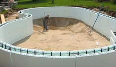 NUDURA Insulated Concrete Forms are increasingly being used for retaining walls, water features, outdoor fireplaces, wine cellars, and swimming pools. Natural Swimming Pools, Swimming Pools Backyard, Swimming Pool Designs, Underground Pool, Piscine Diy, Insulated Concrete Forms, Concrete Pool, Pool Construction, Diy Pool