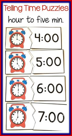 Match digital times to clock faces with these bright puzzles. Differentiated levels for time to the hour, half hour, quarter hour and five minutes. $